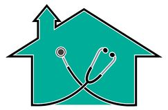 Doctor house. Isolated line art design vector illustration