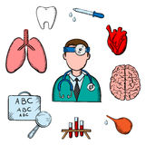 Doctor, human organs and medical obects. Medical icons with doctor encircled by an eye chart, lungs, tooth, eye, dropper, test tubes , brain and heart depicting royalty free illustration