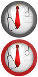 Doctor icon. Icons. Doctor with red tie and stethoscope. Illustration Stock Photos