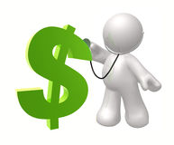 Doctor icon figure checking dollar. Doctor health icon figure 3d illustration Stock Photos