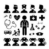 Doctor icon and hospital Stock Photography