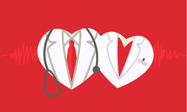 Doctor icon on red medical background. Stock Photography