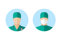 Doctor icon set. Doctors avatars set. Doctor icon isolated on white background. Doctor in mask. Flat style design icon Royalty Free Stock Images