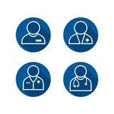 Doctor Icon Set - Some with Stethoscope & some with pocket. Doctor Icon Set - Some w Stethoscope and some with pocket Stock Images