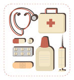 Doctor icons. Doctor equipment icons set. Solid fill only Royalty Free Stock Photo