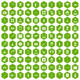 100 doctor icons hexagon green. 100 doctor icons set in green hexagon isolated vector illustration Stock Photo
