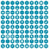 100 doctor icons sapphirine violet. 100 doctor icons set in sapphirine hexagon isolated vector illustration royalty free illustration
