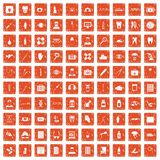 100 doctor icons set grunge orange. 100 doctor icons set in grunge style orange color isolated on white background vector illustration Stock Photos