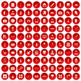 100 doctor icons set red. 100 doctor icons set in red circle isolated on white vector illustration vector illustration