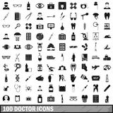 100 doctor icons set, simple style Royalty Free Stock Photos