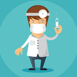Doctor. Illustration of male doctor with syringe Royalty Free Stock Image