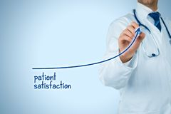 Doctor improve patient satisfaction. Concept and better access to medical and healthcare supervision. Medical practitioner want to increase number of satisfied Stock Image