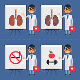 Doctor indicates on flip chart Royalty Free Stock Image