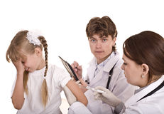Doctor inject inoculation to child. Royalty Free Stock Photos