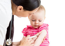 Doctor injecting baby isolated Royalty Free Stock Image