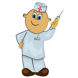 Doctor with injection. healthcare illustra Royalty Free Stock Image