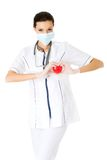 Doctor inprotecting mask holding heart model Stock Photo
