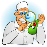 Doctor inspecting germ royalty free illustration