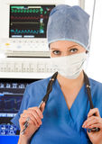 Doctor in intensive care unit Royalty Free Stock Photography