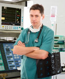 Doctor in intensive care unit stock photos