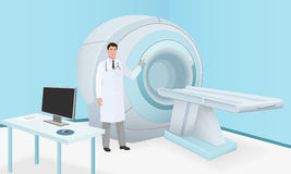 Doctor invites patient to body brain scan of MRI machine. MRI scan and diagnostics process in procedure room. Realistic vector royalty free illustration
