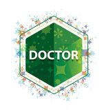 Doctor floral plants pattern green hexagon button royalty free illustration