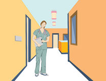 Doctor Jane. Vector art in Illustrator 8. Female healthcare worker in a colorful setting. Could be a doctor, nurse, technician, etc in a hospital or medical Royalty Free Stock Photo