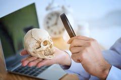 Doctor joven con una lupa y la observación del skul humano imagen de archivo libre de regalías