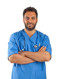 Doctor joven hermoso con la chaqueta azul Imagen de archivo