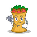 Doctor kebab wrap character cartoon. Vector illustration royalty free illustration