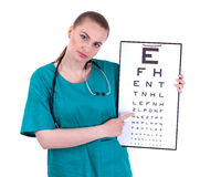 Doctor keeping optometry chart Royalty Free Stock Images