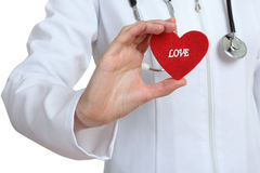 The doctor keeps the heart from a fabric Stock Photo
