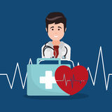 Doctor kit first aid heartbeat. Illustration eps 10 Royalty Free Stock Photography