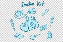 Doctor kit medical instruments and medicines. Comic book cartoon pop art retro style vector illustration Stock Images