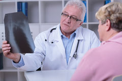 Doctor knows everything. About woman's malady from x-ray image Stock Photography