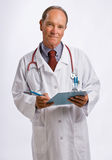 Doctor in lab coat and stethoscope Stock Photo