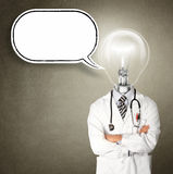 Doctor with lamp-head. Isolated on different backgrounds Stock Photo