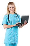 Doctor with laptop Stock Photo
