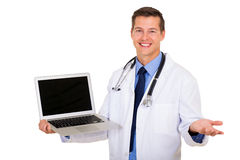 Doctor laptop blank screen Stock Photo