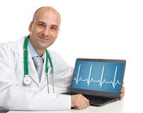 Doctor with laptop stock photography