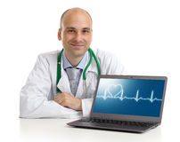 Doctor with laptop Stock Image