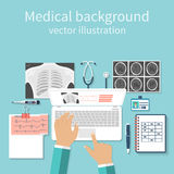 Doctor with laptop his desk studying documents of diagnostic res. Earch. Workplace doctor at table. Top view of the workplace doctor, medical equipment. Flat Royalty Free Stock Photos
