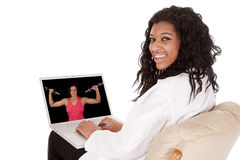Doctor with laptop screen smile Royalty Free Stock Photos