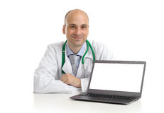 Doctor with laptop Royalty Free Stock Image