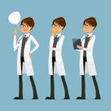 Doctor lindo de la historieta con los vidrios, en diversas actitudes Foto de archivo