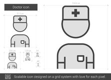 Doctor line icon. Doctor vector line icon isolated on white background. Doctor line icon for infographic, website or app. Scalable icon designed on a grid Stock Image