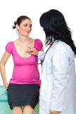 Doctor listen the heart of a pregnant woman Royalty Free Stock Image