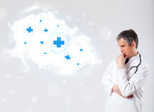 Doctor listening to abstract cloud with medical signs Stock Images