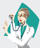 Doctor listens to  phonendoscope Stock Photo