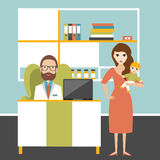 Doctor and little patient iwith mother in office surgery. Pediatric clinic. Royalty Free Stock Photos